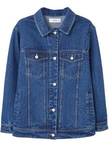 Embroidered Denim Jacket - pattern: plain; style: denim; secondary colour: pink; predominant colour: denim; occasions: casual, creative work; length: standard; fit: straight cut (boxy); fibres: cotton - 100%; collar: shirt collar/peter pan/zip with opening; sleeve length: long sleeve; sleeve style: standard; texture group: denim; collar break: high; pattern type: fabric; pattern size: standard; embellishment: embroidered; wardrobe: highlight; season: s/s 2017; embellishment location: back