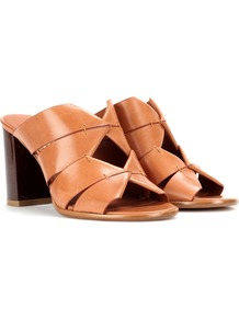 Evelina Leather Mules - predominant colour: tan; material: leather; heel height: high; heel: block; toe: open toe/peeptoe; style: mules; occasions: holiday, creative work; finish: plain; pattern: plain; wardrobe: highlight; season: s/s 2017