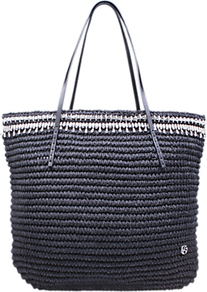 Diamante Raffia Tote Bag - secondary colour: white; predominant colour: navy; occasions: casual, creative work; type of pattern: standard; style: tote; length: handle; size: standard; material: macrame/raffia/straw; pattern: plain; finish: plain; wardrobe: highlight; season: s/s 2017