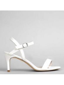 Ivory Sateen Ankle Strap Heels - predominant colour: white; occasions: evening, occasion; material: faux leather; heel height: high; ankle detail: ankle strap; heel: stiletto; toe: open toe/peeptoe; style: strappy; finish: plain; pattern: colourblock; wardrobe: event; season: s/s 2017