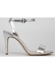 Silver Crackle Metallic Ankle Strap Heels - predominant colour: silver; occasions: evening, occasion; material: faux leather; heel height: high; ankle detail: ankle strap; heel: stiletto; toe: open toe/peeptoe; style: standard; finish: fluorescent; pattern: plain; wardrobe: event; season: s/s 2017