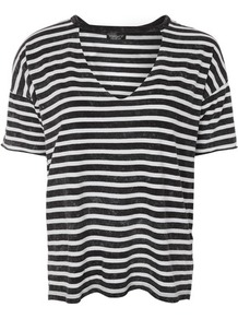 Choker Acid Stripe T Shirt - neckline: v-neck; pattern: horizontal stripes; style: t-shirt; secondary colour: white; predominant colour: black; occasions: casual; length: standard; fibres: cotton - 100%; fit: loose; sleeve length: short sleeve; sleeve style: standard; pattern type: fabric; pattern size: standard; texture group: jersey - stretchy/drapey; wardrobe: basic; season: s/s 2017