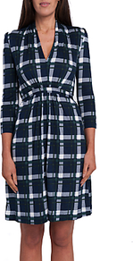 Eso Clarence Check Dress - style: shift; neckline: v-neck; pattern: checked/gingham; waist detail: flattering waist detail; bust detail: subtle bust detail; secondary colour: white; predominant colour: navy; occasions: evening; length: just above the knee; fit: fitted at waist & bust; fibres: viscose/rayon - 100%; sleeve length: 3/4 length; sleeve style: standard; pattern type: fabric; pattern size: big & busy; texture group: other - light to midweight; wardrobe: event; season: s/s 2017