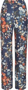 Floral Wide Leg Trousers By Love - length: standard; waist: high rise; predominant colour: navy; secondary colour: bright orange; occasions: casual; fibres: polyester/polyamide - 100%; fit: wide leg; pattern type: fabric; pattern: florals; texture group: other - light to midweight; style: standard; wardrobe: highlight; season: s/s 2017