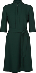 Lois Shirt Dress, Pine Green - pattern: plain; waist detail: belted waist/tie at waist/drawstring; predominant colour: dark green; occasions: evening; length: on the knee; fit: fitted at waist & bust; style: fit & flare; neckline: collarstand; fibres: polyester/polyamide - 100%; sleeve length: half sleeve; sleeve style: standard; pattern type: fabric; texture group: jersey - stretchy/drapey; wardrobe: event; season: s/s 2017