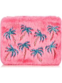 Palm Fur Clutch Bag By Skinnydip - predominant colour: pink; secondary colour: teal; occasions: evening; type of pattern: standard; style: clutch; length: hand carry; size: standard; material: faux fur; embellishment: applique; finish: plain; pattern: patterned/print; wardrobe: event; season: s/s 2017