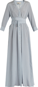 Gisele Tie Waist Silk Crepe De Chine Dress - neckline: shirt collar/peter pan/zip with opening; pattern: plain; style: maxi dress; length: ankle length; waist detail: belted waist/tie at waist/drawstring; predominant colour: pale blue; occasions: evening; fit: body skimming; fibres: silk - 100%; sleeve length: long sleeve; sleeve style: standard; texture group: crepes; pattern type: fabric; wardrobe: event; season: s/s 2017