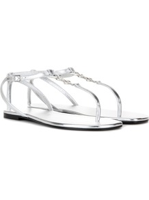 Nu Pieds 05 Ysl Leather Sandals - predominant colour: silver; occasions: casual, holiday; material: leather; heel height: flat; ankle detail: ankle strap; heel: standard; toe: toe thongs; style: standard; finish: metallic; pattern: plain; wardrobe: basic; season: s/s 2017