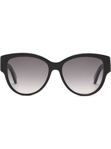 Oval Frame Acetate Sunglasses - predominant colour: black; style: round; size: large; material: plastic/rubber; pattern: plain; occasions: holiday; finish: plain; wardrobe: basic; season: s/s 2017