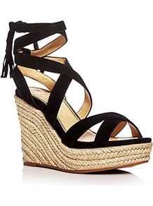 Janice Ankle Tie Espadrille Wedge Sandals - secondary colour: stone; predominant colour: black; occasions: casual; material: fabric; ankle detail: ankle tie; heel: wedge; toe: open toe/peeptoe; style: strappy; finish: plain; pattern: colourblock; heel height: very high; shoe detail: platform; wardrobe: highlight; season: s/s 2017