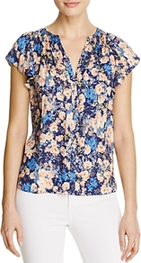 Gigi Floral Print Silk Top - secondary colour: blush; predominant colour: diva blue; occasions: casual; length: standard; style: top; neckline: collarstand & mandarin with v-neck; fibres: silk - 100%; fit: straight cut; sleeve length: short sleeve; sleeve style: standard; texture group: silky - light; pattern type: fabric; pattern: florals; pattern size: big & busy (top); multicoloured: multicoloured; wardrobe: highlight; season: s/s 2017