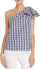 Cindy Gingham One Shoulder Top - sleeve style: sleeveless; pattern: checked/gingham; neckline: asymmetric; secondary colour: white; predominant colour: navy; occasions: casual; length: standard; style: top; fibres: cotton - 100%; fit: straight cut; sleeve length: sleeveless; texture group: cotton feel fabrics; pattern type: fabric; pattern size: standard; embellishment: bow; multicoloured: multicoloured; wardrobe: highlight; season: s/s 2017; embellishment location: shoulder