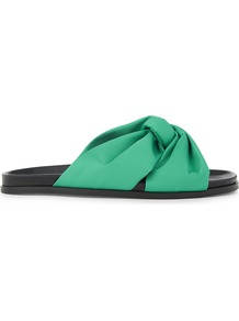 Fareen Satin Sandals, Women's, Size: Eur 36 / 3 Uk Women, Vert - predominant colour: mint green; secondary colour: black; material: leather; heel height: flat; heel: block; toe: open toe/peeptoe; style: slides; occasions: holiday; finish: plain; pattern: plain; wardrobe: highlight; season: s/s 2017