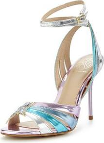 Jool Barely There Metallic Sandal - predominant colour: lilac; secondary colour: turquoise; occasions: evening, occasion; material: leather; ankle detail: ankle strap; heel: stiletto; toe: open toe/peeptoe; style: strappy; finish: metallic; pattern: colourblock; heel height: very high; multicoloured: multicoloured; wardrobe: event; season: s/s 2017