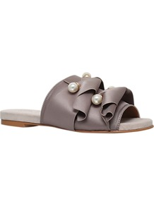 Naomi Mule Sandals - secondary colour: ivory/cream; predominant colour: mid grey; occasions: casual, holiday; material: satin; heel height: flat; embellishment: pearls; heel: block; toe: open toe/peeptoe; style: slides; finish: plain; pattern: plain; wardrobe: highlight; season: s/s 2017