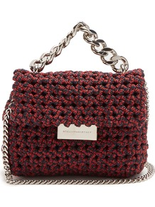 Becks Mini Woven Clutch - predominant colour: burgundy; secondary colour: silver; occasions: casual, creative work; type of pattern: standard; style: shoulder; length: shoulder (tucks under arm); size: small; material: fabric; pattern: plain; finish: plain; embellishment: chain/metal; wardrobe: highlight; season: s/s 2017