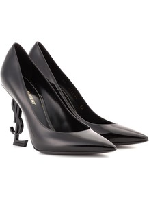 Patent Leather Pumps - predominant colour: black; occasions: evening; material: leather; heel height: high; heel: stiletto; toe: pointed toe; style: courts; finish: plain; pattern: plain; wardrobe: event; season: s/s 2017