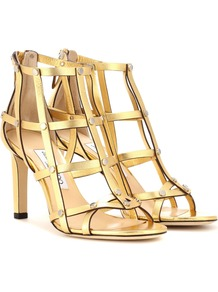 Tina 85 Metallic Leather Sandals - predominant colour: gold; occasions: evening; material: leather; heel height: high; embellishment: studs; ankle detail: ankle strap; heel: stiletto; toe: open toe/peeptoe; style: strappy; finish: metallic; pattern: plain; wardrobe: event; season: s/s 2017