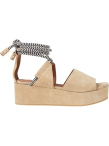 Molino Flatform Tie Sandals - predominant colour: stone; secondary colour: silver; occasions: casual; material: suede; heel height: mid; ankle detail: ankle tie; heel: block; toe: open toe/peeptoe; style: standard; finish: plain; pattern: plain; shoe detail: platform; wardrobe: highlight; season: s/s 2017