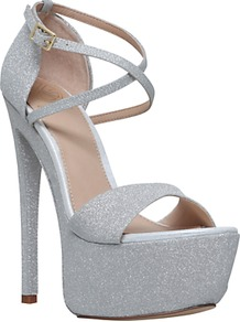 Nannette Platform Stiletto Heeled Sandals, Silver - predominant colour: silver; occasions: evening; material: suede; embellishment: glitter; ankle detail: ankle strap; heel: stiletto; toe: open toe/peeptoe; style: standard; finish: plain; pattern: plain; heel height: very high; shoe detail: platform; wardrobe: event; season: s/s 2017