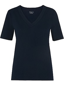 V Neck Double Trim T Shirt, Navy - neckline: v-neck; pattern: plain; style: t-shirt; predominant colour: navy; occasions: casual; length: standard; fibres: cotton - 100%; fit: body skimming; sleeve length: short sleeve; sleeve style: standard; pattern type: fabric; texture group: jersey - stretchy/drapey; wardrobe: basic; season: s/s 2017