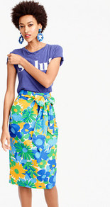 Tall Tie Waist Skirt In Puckered Morning Floral - length: below the knee; style: pencil; fit: tailored/fitted; waist detail: belted waist/tie at waist/drawstring; waist: mid/regular rise; predominant colour: pale blue; secondary colour: yellow; occasions: casual, creative work; fibres: cotton - 100%; texture group: cotton feel fabrics; pattern type: fabric; pattern: florals; multicoloured: multicoloured; wardrobe: highlight; season: s/s 2017