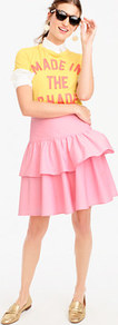 Petite Tiered Ruffle Skirt - pattern: plain; style: full/prom skirt; fit: loose/voluminous; waist: mid/regular rise; predominant colour: pink; occasions: casual; length: just above the knee; fibres: cotton - stretch; pattern type: fabric; texture group: other - light to midweight; wardrobe: highlight; season: s/s 2017; embellishment: frills; embellishment location: hip