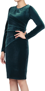 Asymmetric Folded Bodycon Dress, Teal - fit: tight; pattern: plain; style: bodycon; waist detail: flattering waist detail; predominant colour: teal; occasions: evening; length: on the knee; fibres: polyester/polyamide - stretch; neckline: crew; sleeve length: long sleeve; sleeve style: standard; pattern type: fabric; texture group: velvet/fabrics with pile; wardrobe: event; season: s/s 2017