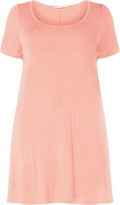 Coral Pink Short Sleeved Tunic - pattern: plain; length: below the bottom; style: t-shirt; predominant colour: pink; occasions: casual, holiday; neckline: scoop; fibres: viscose/rayon - stretch; fit: loose; sleeve length: short sleeve; sleeve style: standard; pattern type: fabric; texture group: jersey - stretchy/drapey; wardrobe: highlight; season: s/s 2017