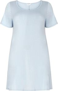 Blue Short Sleeve Tunic - neckline: round neck; pattern: plain; length: below the bottom; style: t-shirt; predominant colour: pale blue; occasions: casual, holiday; fibres: viscose/rayon - stretch; fit: loose; sleeve length: short sleeve; sleeve style: standard; pattern type: fabric; texture group: jersey - stretchy/drapey; wardrobe: highlight; season: s/s 2017