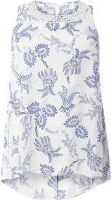 Ivory Printed Sleeveless Top - sleeve style: sleeveless; style: vest top; predominant colour: white; secondary colour: navy; occasions: casual, holiday; length: standard; fibres: polyester/polyamide - 100%; fit: straight cut; neckline: crew; sleeve length: sleeveless; pattern type: fabric; pattern size: standard; pattern: florals; texture group: woven light midweight; wardrobe: highlight; season: s/s 2017