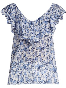 Aimee Floral Print Off The Shoulder Cotton Top - neckline: v-neck; sleeve style: angel/waterfall; style: blouse; secondary colour: white; predominant colour: denim; occasions: casual; length: standard; fibres: cotton - 100%; fit: body skimming; sleeve length: short sleeve; pattern type: fabric; pattern: florals; texture group: jersey - stretchy/drapey; pattern size: big & busy (top); multicoloured: multicoloured; wardrobe: highlight; season: s/s 2017; embellishment: frills; embellishment location: bust