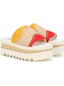 Platform Slip On Sandals - secondary colour: white; predominant colour: true red; material: suede; heel height: flat; heel: wedge; toe: open toe/peeptoe; style: slides; occasions: holiday; finish: plain; pattern: colourblock; shoe detail: platform with tread; wardrobe: highlight; season: s/s 2017