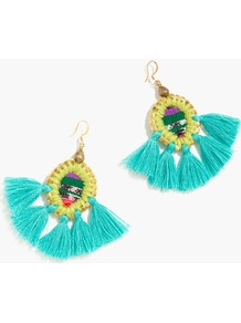Gaia™ Tassel Earrings - predominant colour: turquoise; secondary colour: primrose yellow; occasions: casual; style: drop; length: mid; size: standard; material: chain/metal; fastening: pierced; finish: plain; wardrobe: highlight; season: s/s 2017