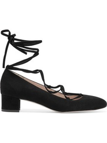 Evelyn Lace Up Suede Pumps Black - predominant colour: black; occasions: evening, work, creative work; material: suede; heel height: mid; ankle detail: ankle tie; heel: block; toe: round toe; style: courts; finish: plain; pattern: plain; wardrobe: investment; season: s/s 2017