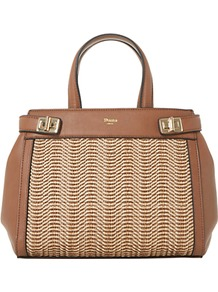 Damita Medium Structured Raffia Grab Bag - predominant colour: tan; secondary colour: stone; occasions: work, creative work; type of pattern: standard; style: tote; length: handle; size: standard; material: faux leather; finish: plain; pattern: colourblock; wardrobe: highlight; season: s/s 2017