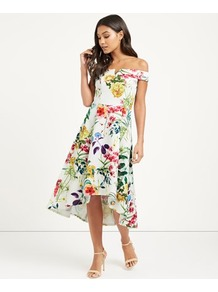 Floral Print Dip Back Dress - length: calf length; neckline: off the shoulder; sleeve style: capped; predominant colour: white; secondary colour: true red; fit: fitted at waist & bust; style: asymmetric (hem); fibres: polyester/polyamide - stretch; occasions: occasion; sleeve length: short sleeve; pattern type: fabric; pattern: patterned/print; texture group: jersey - stretchy/drapey; multicoloured: multicoloured; wardrobe: event; season: s/s 2017
