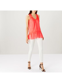 Cornelia Neon Top - neckline: v-neck; pattern: plain; sleeve style: sleeveless; length: below the bottom; style: blouse; bust detail: subtle bust detail; predominant colour: coral; occasions: casual; fibres: polyester/polyamide - 100%; fit: loose; sleeve length: sleeveless; texture group: sheer fabrics/chiffon/organza etc.; pattern type: fabric; wardrobe: highlight; season: s/s 2017