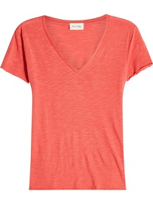 T Shirt With Cotton - neckline: v-neck; pattern: plain; style: t-shirt; predominant colour: pink; occasions: casual; length: standard; fibres: cotton - 100%; fit: body skimming; sleeve length: short sleeve; sleeve style: standard; pattern type: fabric; texture group: jersey - stretchy/drapey; wardrobe: highlight; season: s/s 2017