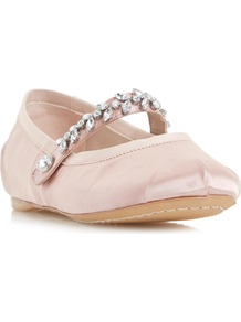 Host Jewel Strap Ballerina Shoe - predominant colour: blush; occasions: casual, evening, creative work; material: satin; heel height: flat; embellishment: crystals/glass; toe: round toe; style: ballerinas / pumps; finish: plain; pattern: plain; wardrobe: basic; season: s/s 2017
