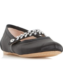 Host Jewel Strap Ballerina Shoe - predominant colour: black; occasions: casual, evening, creative work; material: satin; heel height: flat; embellishment: crystals/glass; toe: round toe; style: ballerinas / pumps; finish: plain; pattern: plain; secondary colour: clear; wardrobe: basic; season: s/s 2017