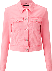 Harlow Denim Jacket, Guava - pattern: plain; style: denim; predominant colour: pink; occasions: casual; length: standard; fit: straight cut (boxy); fibres: cotton - stretch; collar: shirt collar/peter pan/zip with opening; sleeve length: long sleeve; sleeve style: standard; texture group: denim; collar break: high; pattern type: fabric; wardrobe: highlight; season: s/s 2017