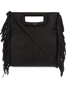 Fringed Leather Cross Body Bag - predominant colour: black; occasions: casual, creative work; type of pattern: standard; style: shoulder; length: across body/long; size: small; material: suede; embellishment: tassels; pattern: plain; finish: plain; wardrobe: investment; season: s/s 2017