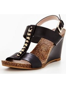 Palba T Bar High Wedge W/Chain Trim - predominant colour: black; occasions: evening; material: leather; heel height: high; ankle detail: ankle strap; heel: wedge; toe: open toe/peeptoe; style: strappy; finish: plain; pattern: plain; wardrobe: event; season: s/s 2017