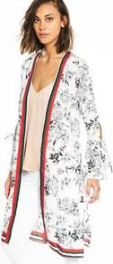 Printed Kimono - sleeve style: bell sleeve; neckline: collarless open; hip detail: draws attention to hips; style: open front; length: on the knee; predominant colour: white; secondary colour: mid grey; occasions: casual; fibres: polyester/polyamide - 100%; fit: loose; sleeve length: long sleeve; pattern type: fabric; pattern: florals; texture group: woven light midweight; pattern size: big & busy (top); multicoloured: multicoloured; wardrobe: highlight; season: s/s 2017