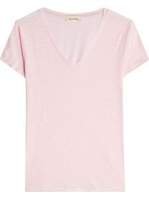 T Shirt With Cotton - neckline: v-neck; pattern: plain; style: t-shirt; predominant colour: blush; occasions: casual; length: standard; fibres: cotton - 100%; fit: body skimming; sleeve length: short sleeve; sleeve style: standard; pattern type: fabric; texture group: jersey - stretchy/drapey; wardrobe: basic; season: s/s 2017
