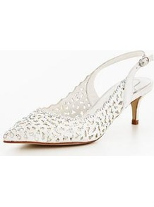 Lunas Wedding Laser Cut Diamante Kitten Sling Back Shoe - predominant colour: ivory/cream; occasions: evening, occasion; material: leather; heel height: mid; heel: kitten; toe: pointed toe; style: slingbacks; finish: plain; pattern: plain; wardrobe: event; season: s/s 2017