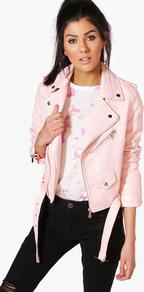 Crop Leather Look Biker Jacket Blush - pattern: plain; style: biker; collar: standard biker; predominant colour: pink; occasions: casual, creative work; length: standard; fit: tailored/fitted; fibres: polyester/polyamide - 100%; sleeve length: long sleeve; sleeve style: standard; texture group: leather; collar break: high/illusion of break when open; pattern type: fabric; wardrobe: highlight; season: s/s 2017