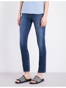 Maude Cigarette Fit Mid Rise Jeans - style: skinny leg; length: standard; pattern: plain; pocket detail: traditional 5 pocket; waist: mid/regular rise; predominant colour: denim; occasions: casual; fibres: cotton - stretch; jeans detail: shading down centre of thigh; texture group: denim; pattern type: fabric; wardrobe: basic; season: s/s 2017