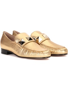 Garavani Metallic Leather Loafers - predominant colour: gold; occasions: casual, creative work; material: leather; heel height: flat; embellishment: studs; toe: round toe; style: loafers; finish: metallic; pattern: plain; wardrobe: basic; season: s/s 2017
